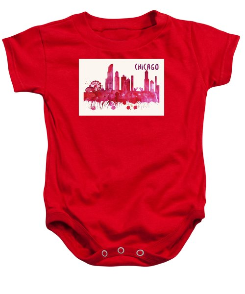 Chicago Skyline Watercolor Poster - Cityscape Painting Artwork Baby Onesie