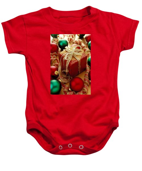 Christmas Present And Ornaments Baby Onesie