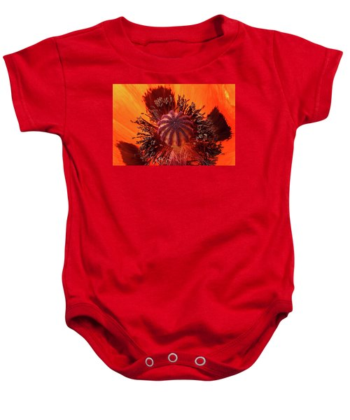 Close-up Bud Of A Red Poppy Flower Baby Onesie