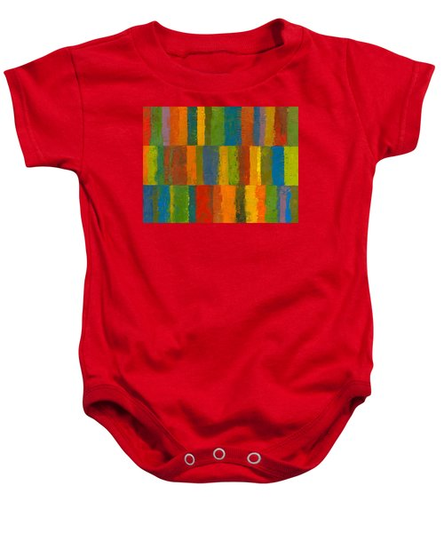 Baby Onesie featuring the painting Color Collage With Stripes by Michelle Calkins