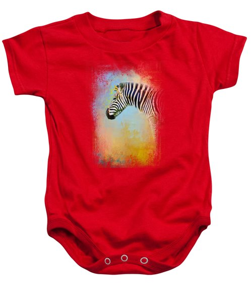 Colorful Expressions Zebra Baby Onesie by Jai Johnson