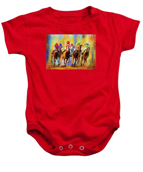 Colorful Horse Racing Impressionist Paintings Baby Onesie