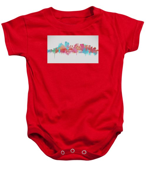 Colorful Sydney Skyline Silhouette Baby Onesie