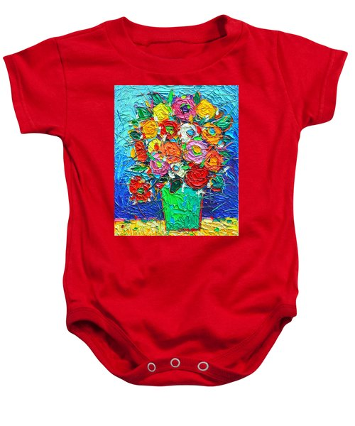 Colorful Wildflowers Abstract Modern Impressionist Palette Knife Oil Painting By Ana Maria Edulescu  Baby Onesie