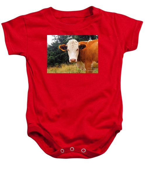 Baby Onesie featuring the photograph Cow In Pasture by MGL Meiklejohn Graphics Licensing