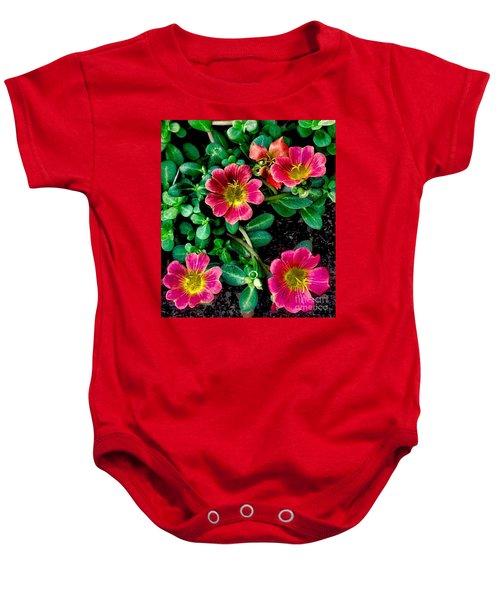 Dark Pink Purselane Flowers Baby Onesie