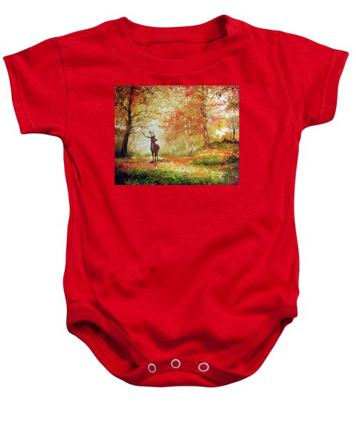 Deer On The Wooden Path Baby Onesie