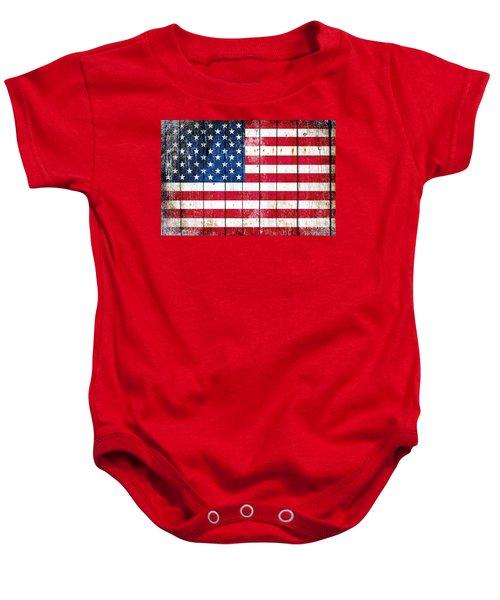 Distressed American Flag On Wood Planks - Horizontal Baby Onesie