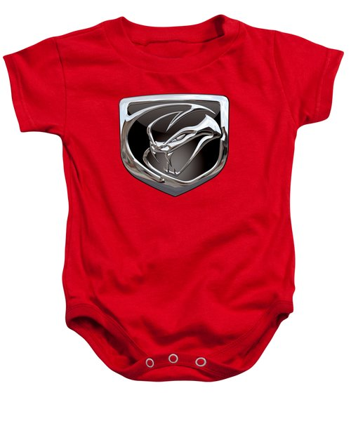 Dodge Viper - 3d Badge On Red Baby Onesie by Serge Averbukh