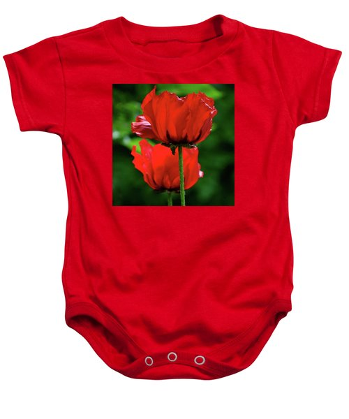 Double Red Poppies Baby Onesie