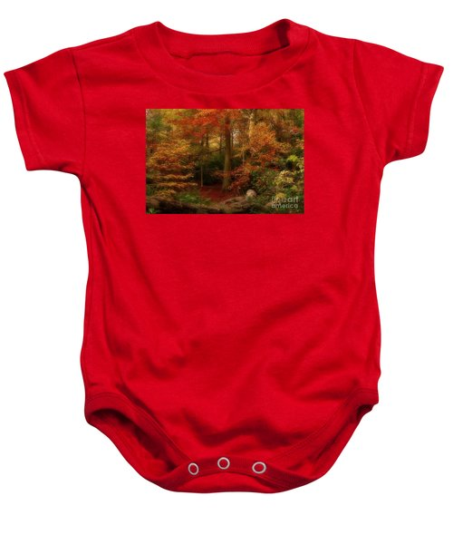 Dreamy Forest Glade In Fall Baby Onesie