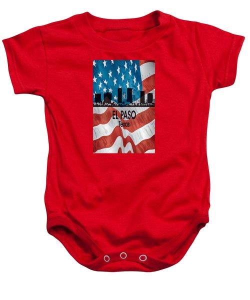 El Paso Tx American Flag Vertical Baby Onesie
