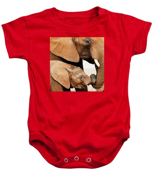 Elephant Calf And Mother Close Together Baby Onesie