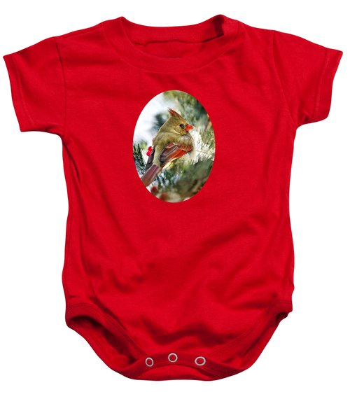 Female Northern Cardinal Baby Onesie by Christina Rollo