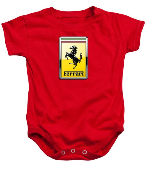 Ferrari 3d Badge-hood Ornament On Red Baby Onesie by Serge Averbukh