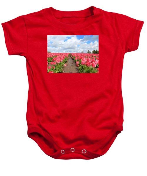 Field Of Pink Baby Onesie