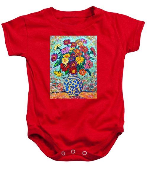 Flowers - Colorful Zinnias Bouquet Baby Onesie