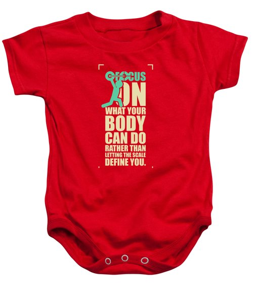Focus On Your Body Gym Quotes Poster Baby Onesie