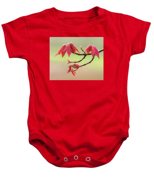 Frosty Maple Leaves Baby Onesie