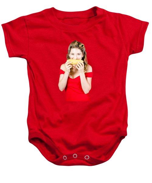 Funny Vegetable Woman With Corn Cob Smile Baby Onesie