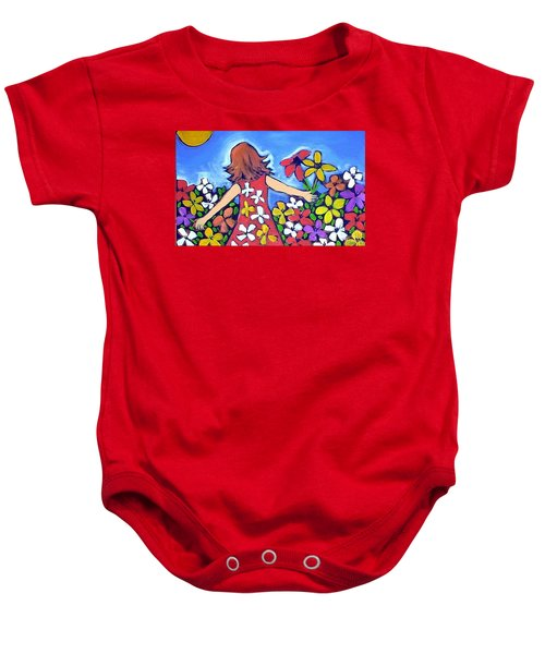 Baby Onesie featuring the painting Garden Of Joy by Winsome Gunning