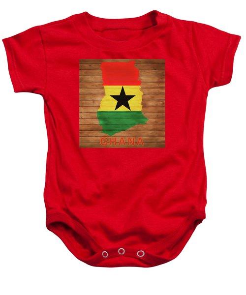 Ghana Rustic Map On Wood Baby Onesie