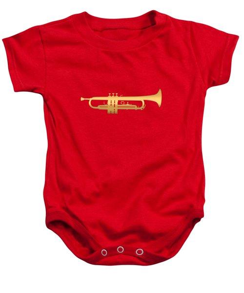 Gold Embossed Trumpet On Dark Red Background Baby Onesie