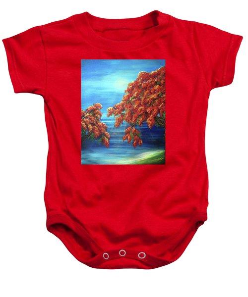 Golden Flame Tree Baby Onesie