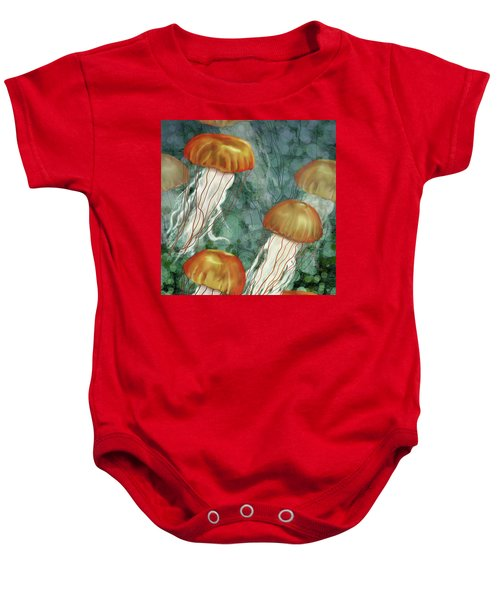 Golden Jellyfish In Green Sea Baby Onesie