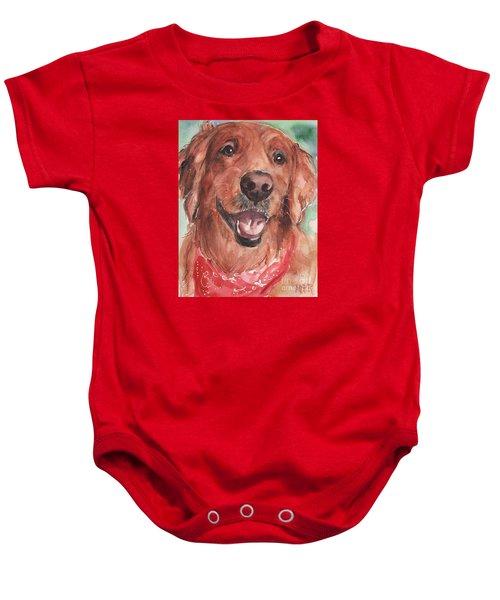 Golden Retriever Dog In Watercolori Baby Onesie