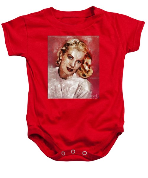 Grace Kelly, Actress And Princess Baby Onesie by Mary Bassett