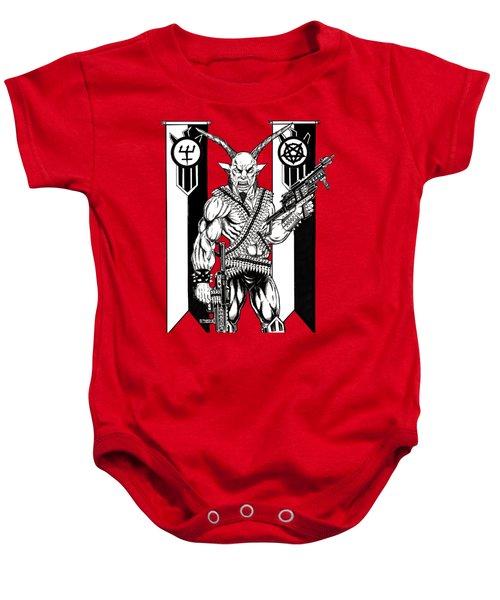 Great Goat War Baby Onesie by Alaric Barca