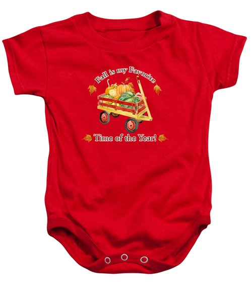 Harvest Red Wagon Pumpkins N Leaves Baby Onesie