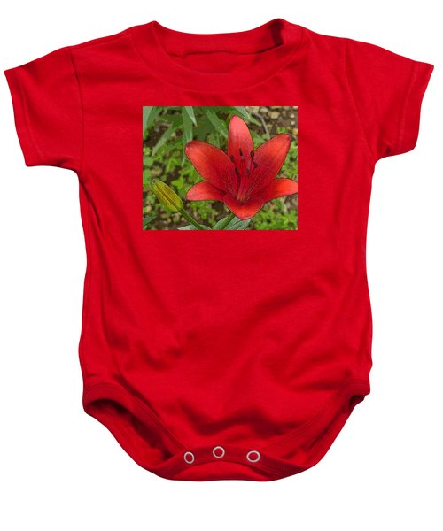 Hazelle's Red Lily Baby Onesie