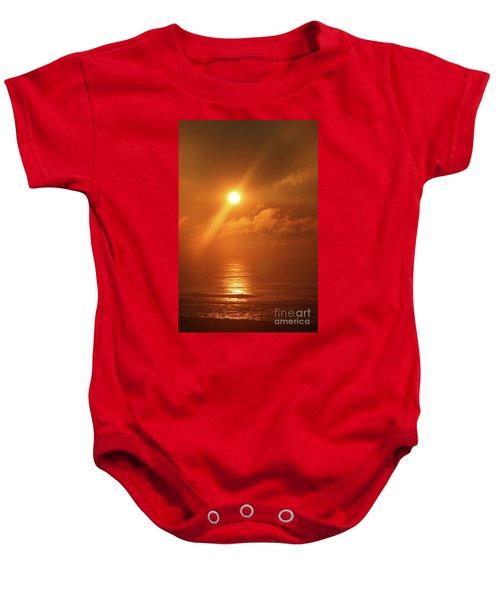 Hazy Orange Sunrise On The Jersey Shore Baby Onesie