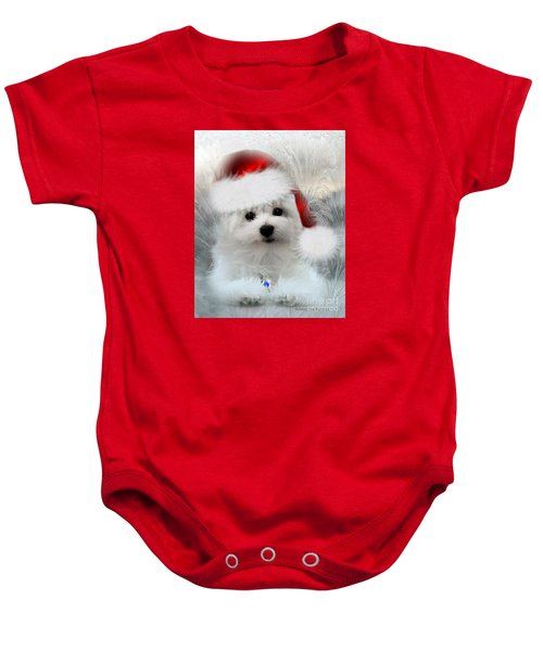 Baby Onesie featuring the photograph Hermes The Maltese At Christmas by Morag Bates
