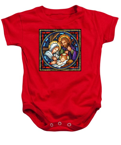 Holy Family Stained Glass Baby Onesie