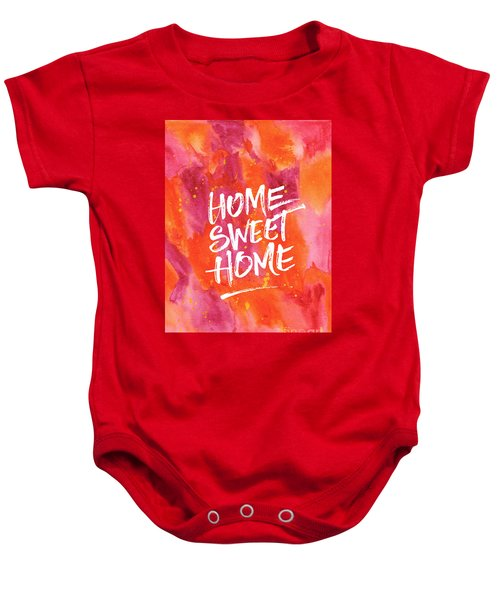 Home Sweet Home Handpainted Abstract Orange Pink Watercolor Baby Onesie
