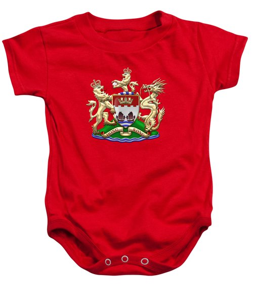 Hong Kong - 1959-1997 Coat Of Arms Over Red Leather  Baby Onesie
