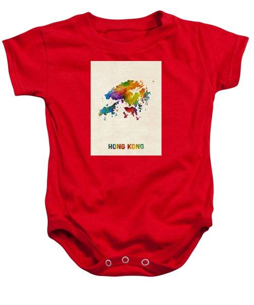 Hong Kong Watercolor Map Baby Onesie