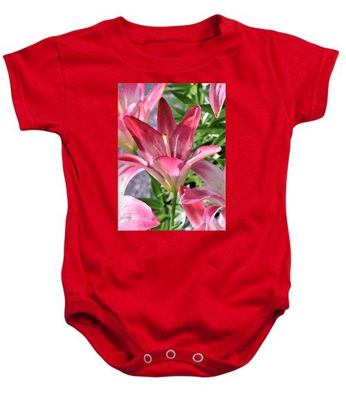 Exquisite Pink Lilies Baby Onesie