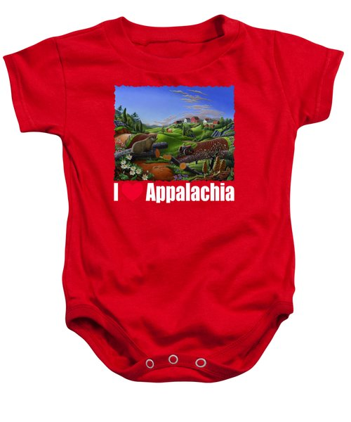 I Love Appalachia T Shirt - Spring Groundhog - Country Farm Landscape Baby Onesie by Walt Curlee