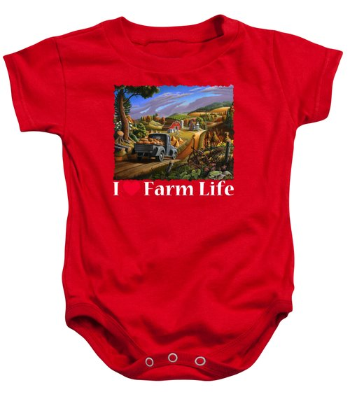 I Love Farm Life Shirt - Taking Pumpkins To Market - Farm Landscape Baby Onesie