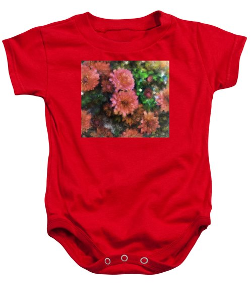 Bronze And Pink Mums Baby Onesie
