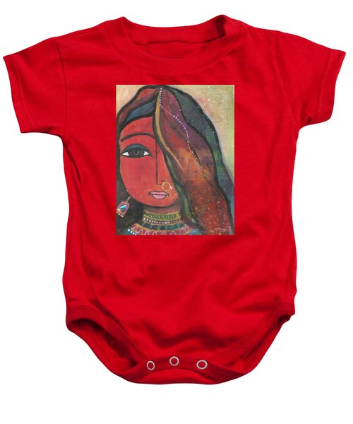 Indian Girl With Nose Ring Baby Onesie
