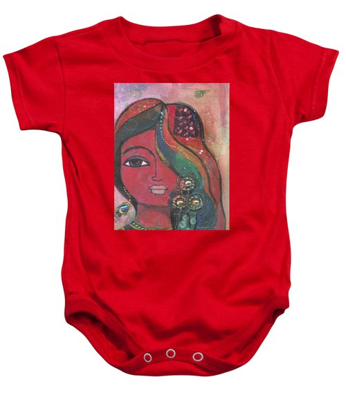 Indian Woman With Flowers  Baby Onesie