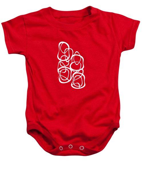Interlocking - White On Red - Pattern Baby Onesie