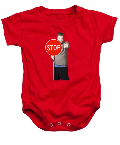 Isolated Man Holding Red Traffic Stop Sign Baby Onesie