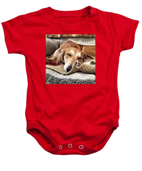 It's Been A Hard Day...  #saluki Baby Onesie