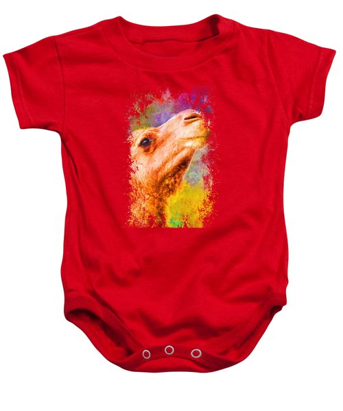 Jazzy Camel Colorful Animal Art By Jai Johnson Baby Onesie by Jai Johnson